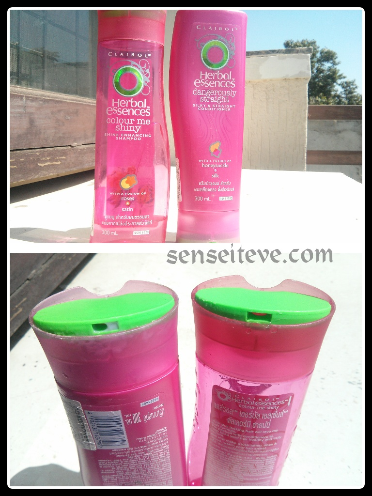 Herbal Essences Color Me Shiney Shine Enhancing Shampoo and Conditioner packaging