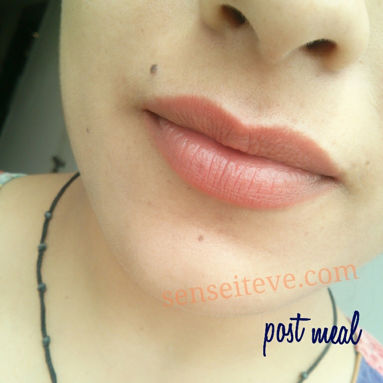 Maybelline Color Sensational Moisture Extreme Lipstick Bronze Orange swatch post meal
