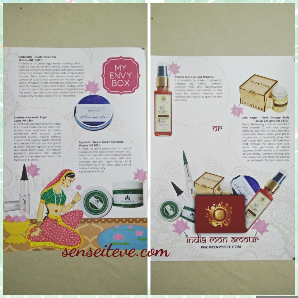 My Envy Box August 2015_Product Introduction Card