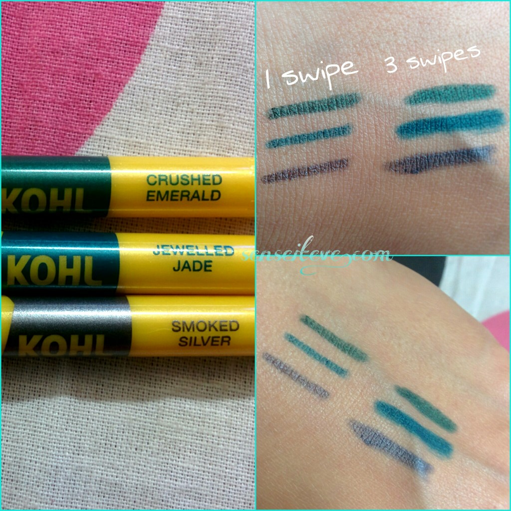 Maybelline the Colossal Kohls Crushed Emerald, Jewelled Jade & Smoked Silver Swatches