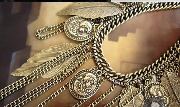 Figure Leaf Purl Vintage Necklace Coat Chain