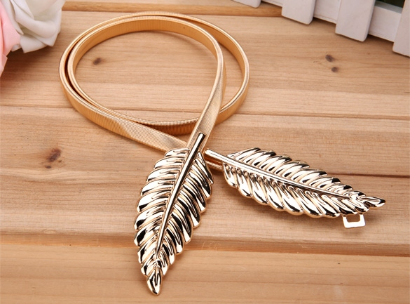 Lady's Fashion Women Trendy Belt Alloy Leaf Waistband Waist Belt Elastic Straps