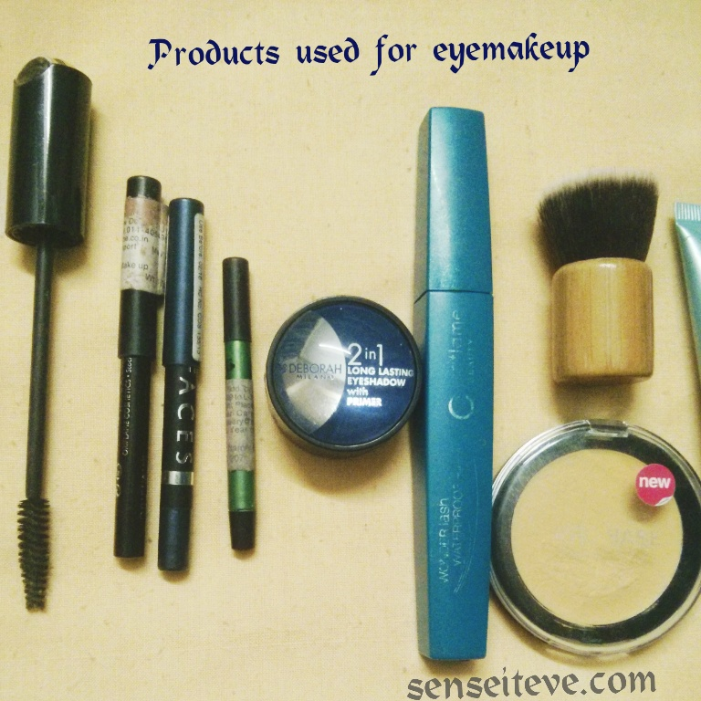 Blue green eyemakeup Products used eyes