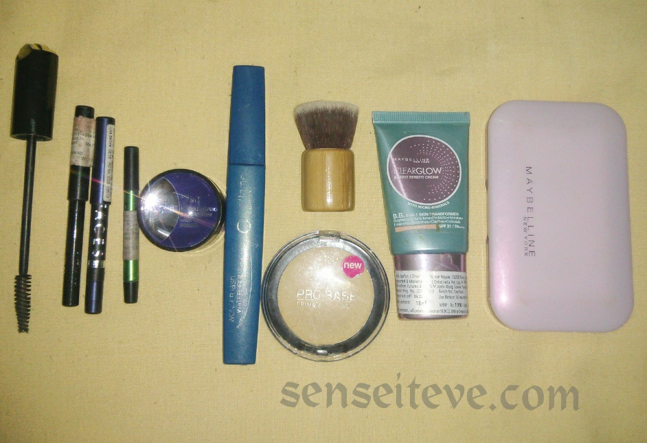 Blue green eyemakeup products used all