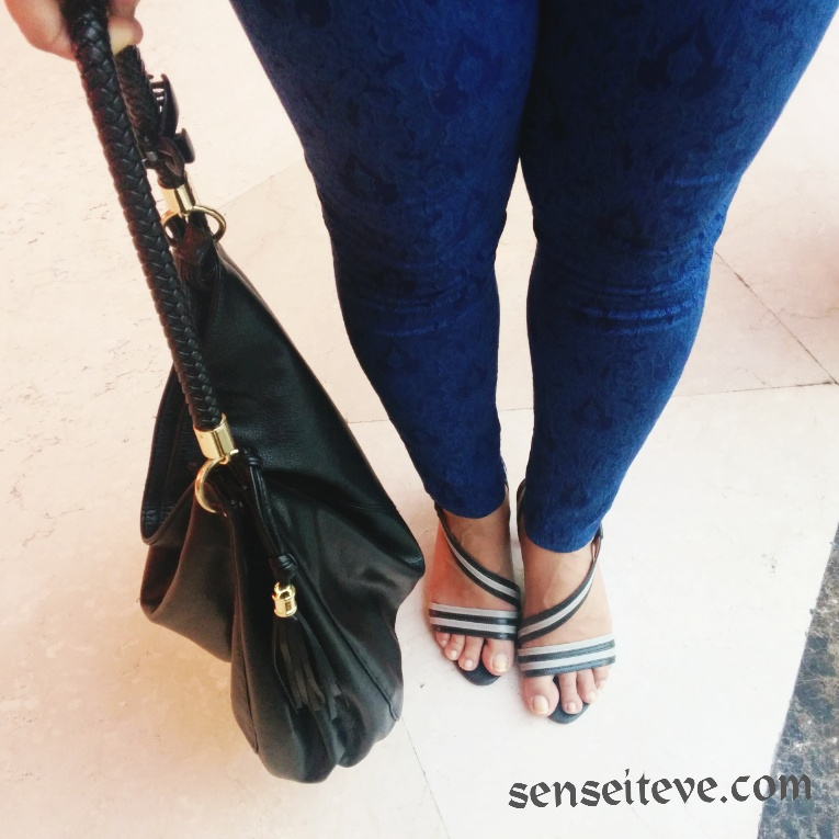 Classic blue-white combination revamp for a movie date shoes and bag