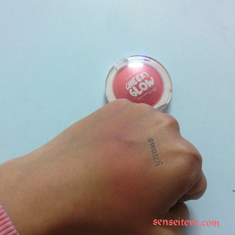Maybelline Cheeky Glow Fresh Coral Review and Swatch Blended