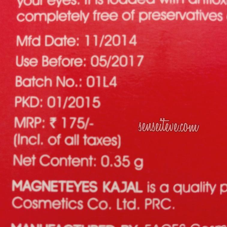 Faces Magneteyes Kajal_Price, quantity & shelf life