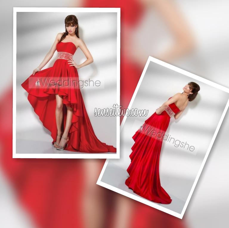 Red Prom Dress_Asymmatric Style