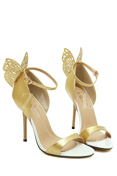 Engraving Butterfly Stiletto Heel Sandals