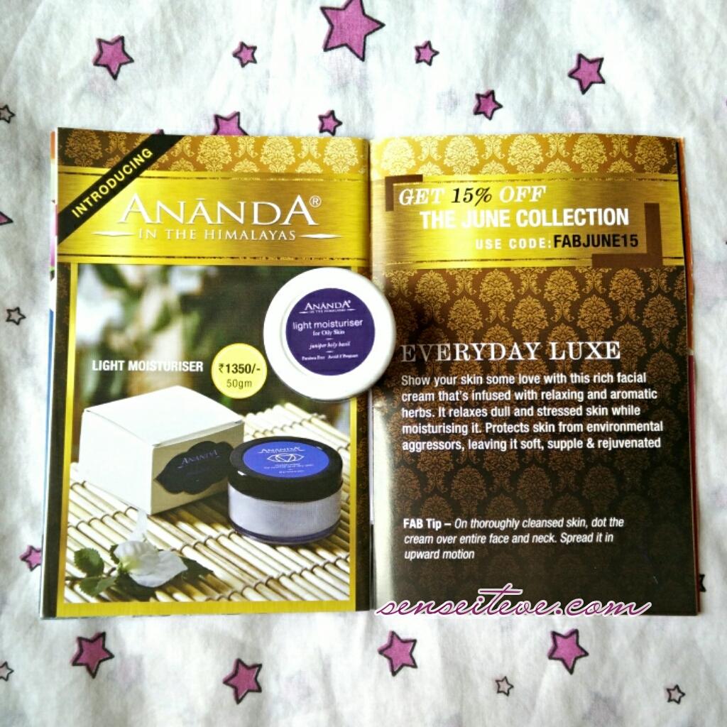 Ananda Spa light moisturizer for Oily skin