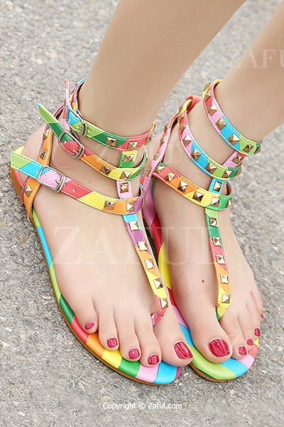 Rainbow Rivets Flip-Flop Color Block Sandals