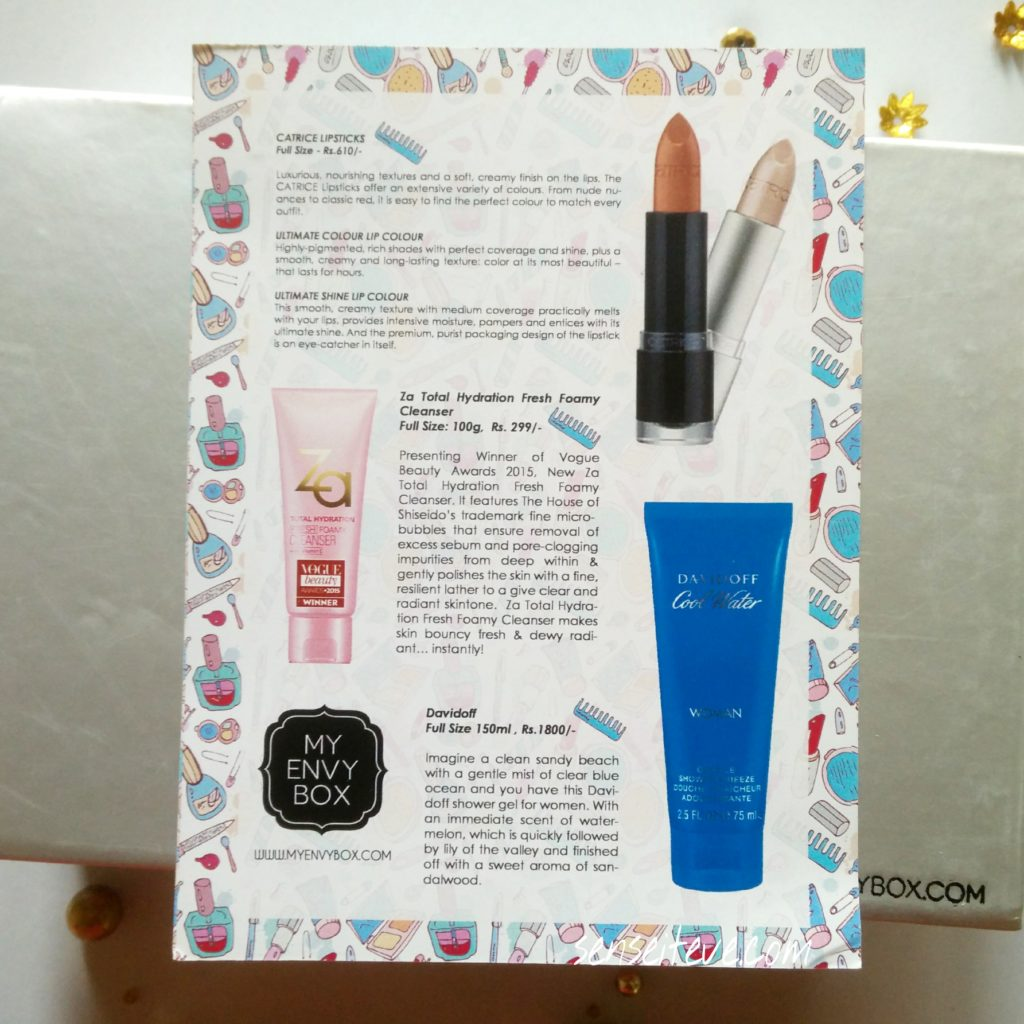 My Envy Box September 2015 Products Description