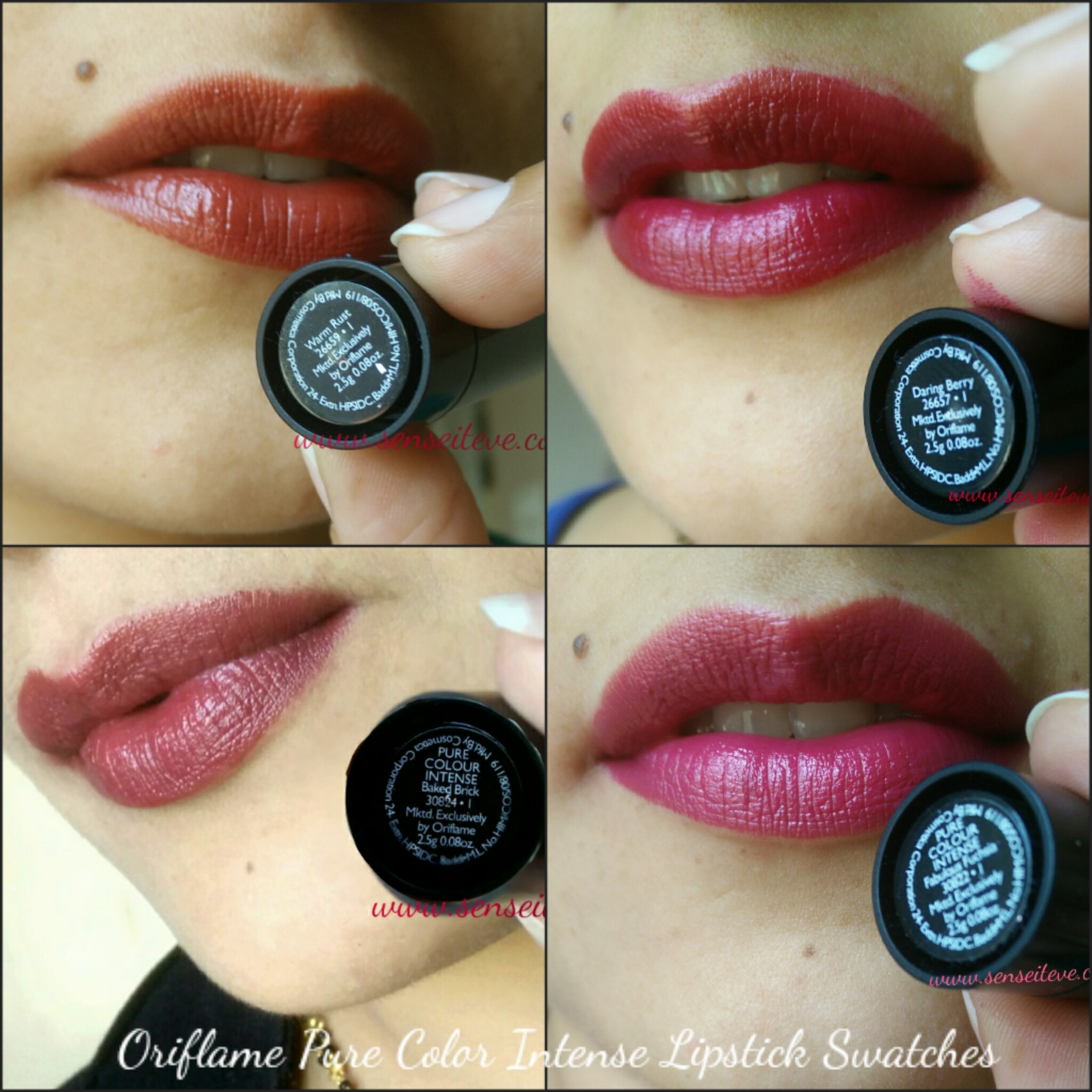 Oriflame Pure Color Intense Lipsticks Warm Rust, Daring Berry, Baked Brick, Fabulous Fuschia Swatches