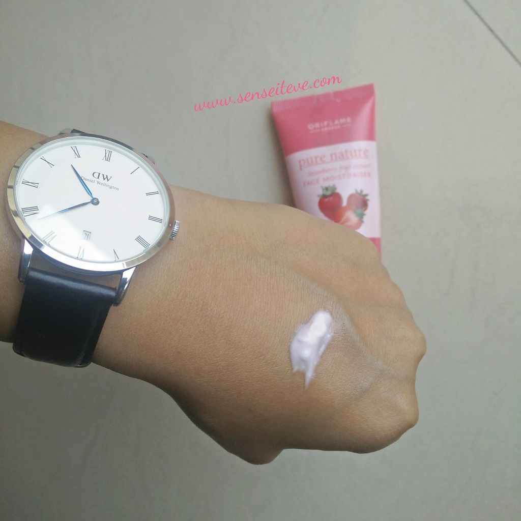 Oriflame Pure Nature Strawberry Fruit Extract Face Moisturizer Swatch