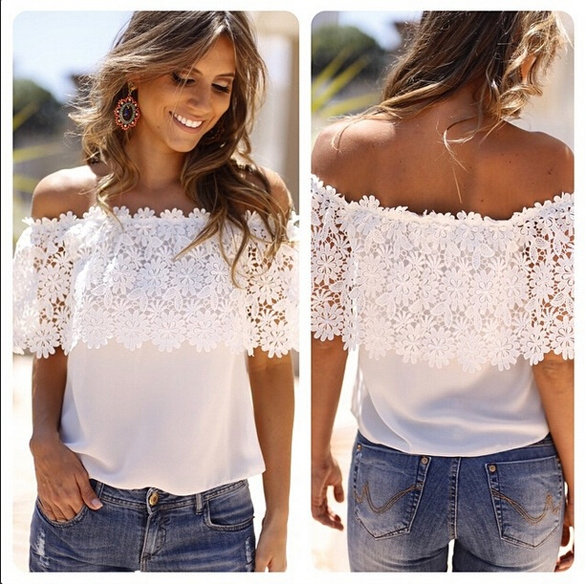 Lady Women's Off Shoulder Lace Splicing Sexy Chiffon Patchwork Tops Blouse