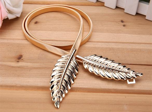 Lady's Fashion Women Trendy Belt Alloy Leaf Waistband Waist Belt Elastic Straps