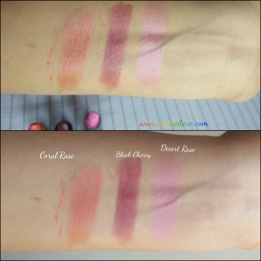 Oriflame Pure Colour Lipstick Coral Rose, Black Cherry, Desert Rose Swatches
