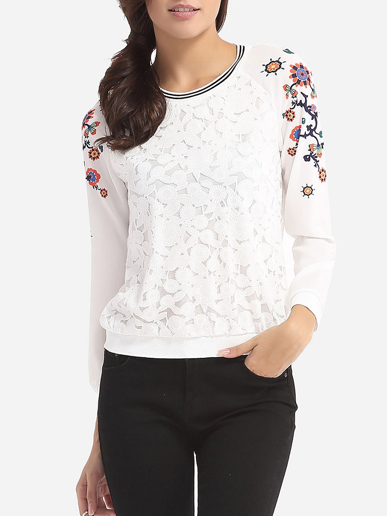 Fashionmia Floral Printed Patchwork Designed Round Neck Long-Sleeve-T-Shirts