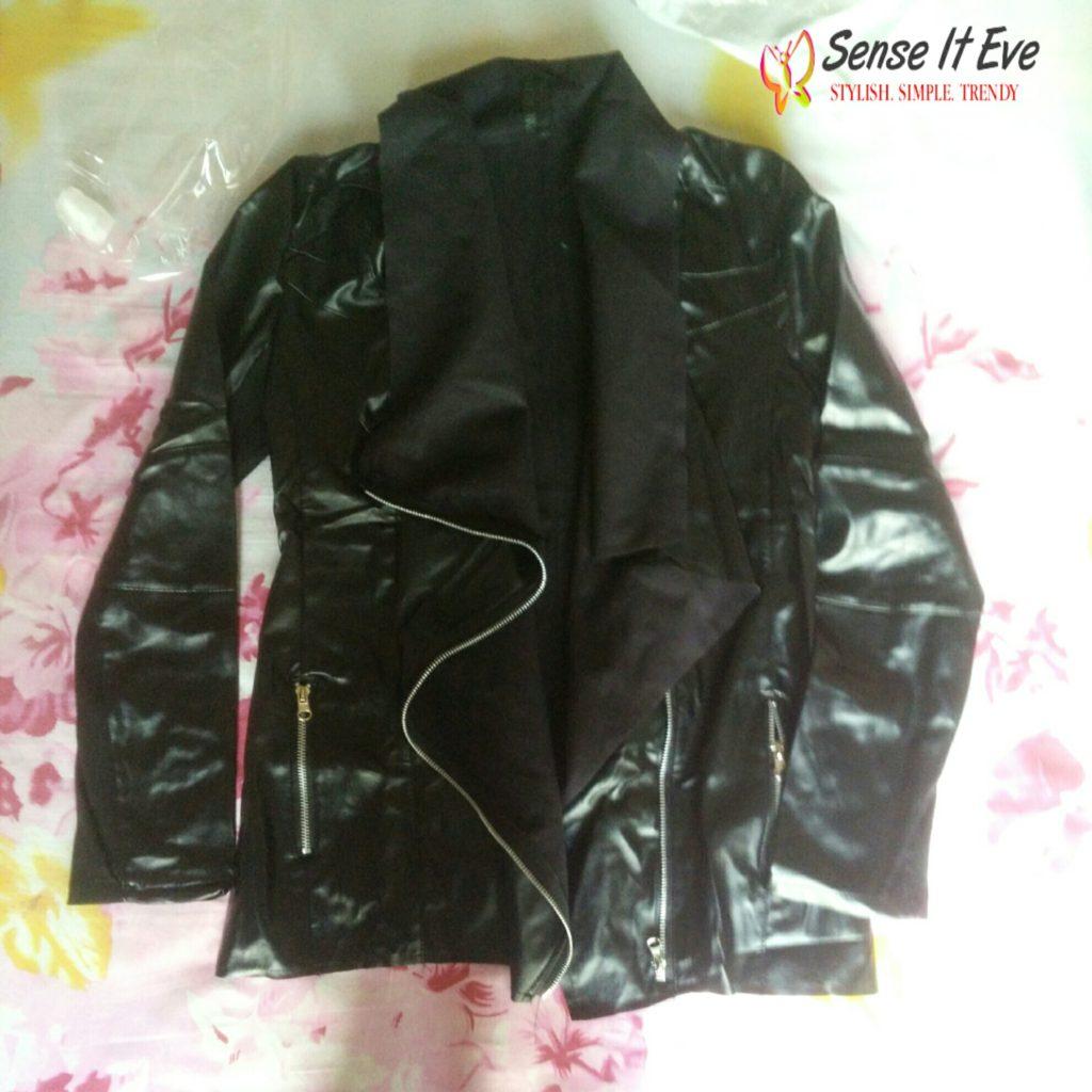 Zaful Turn-Down Collar Black PU Leather Jacket