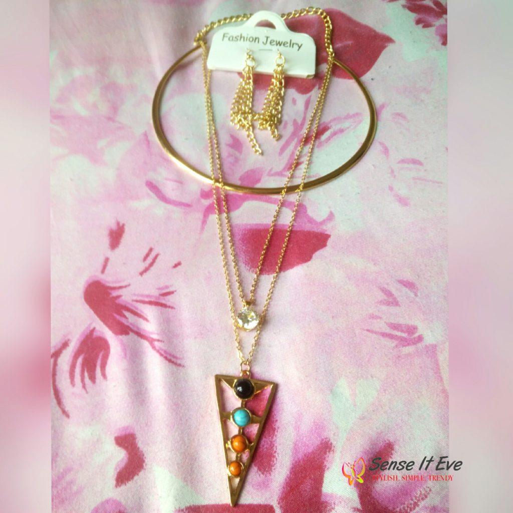 Zaful Rhinestone Triangle Tassel Necklace and Earrings