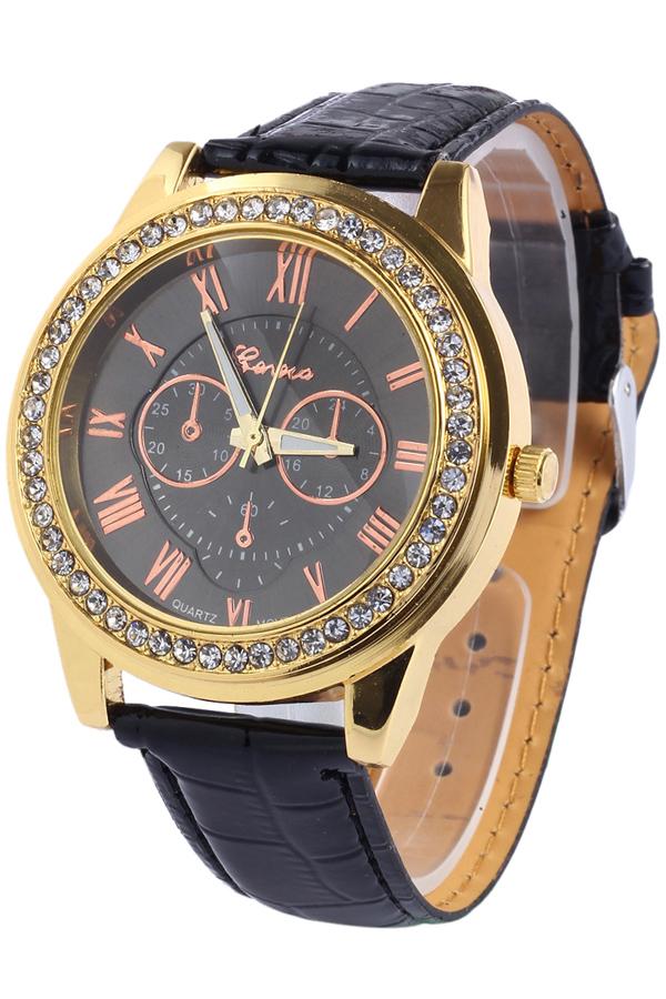 Zaful Roman Numeral Rhinestoned Watch