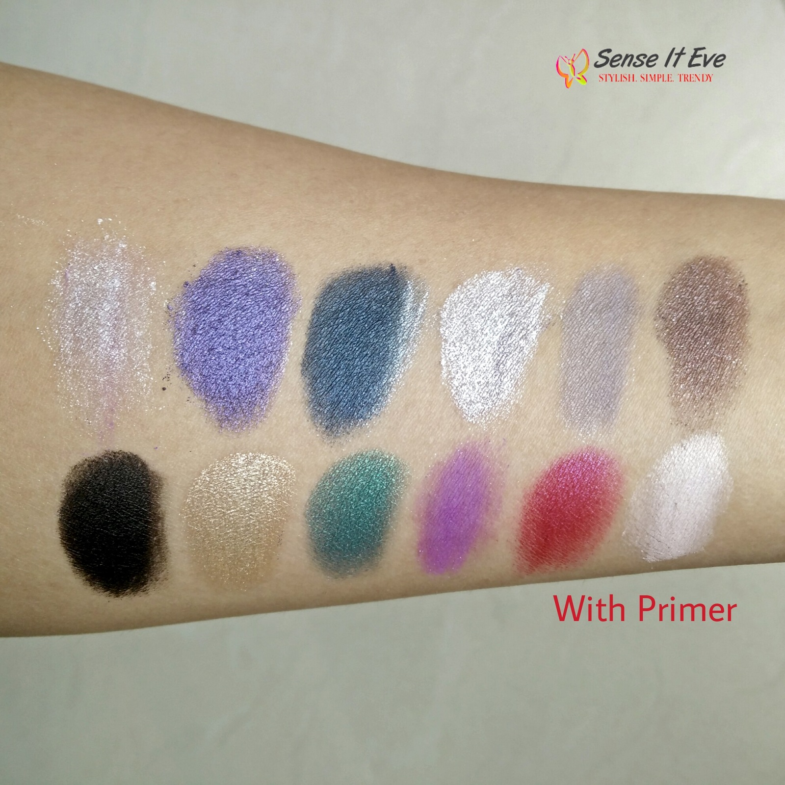 MUA Glamour Nights Eye Shadow Palette Swatches With Primer 2