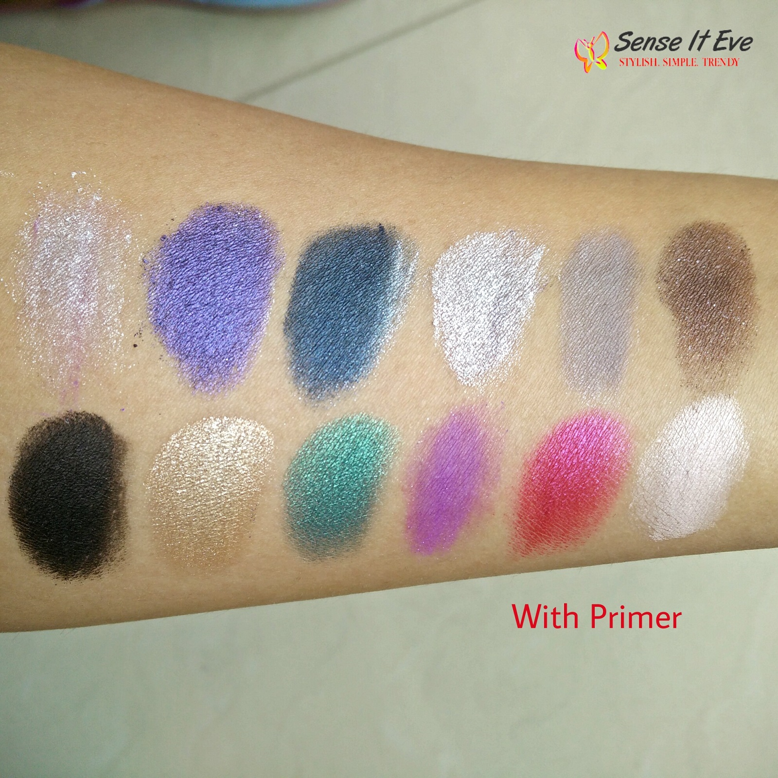 MUA Glamour Nights Eye Shadow Palette Swatches With Primer 1