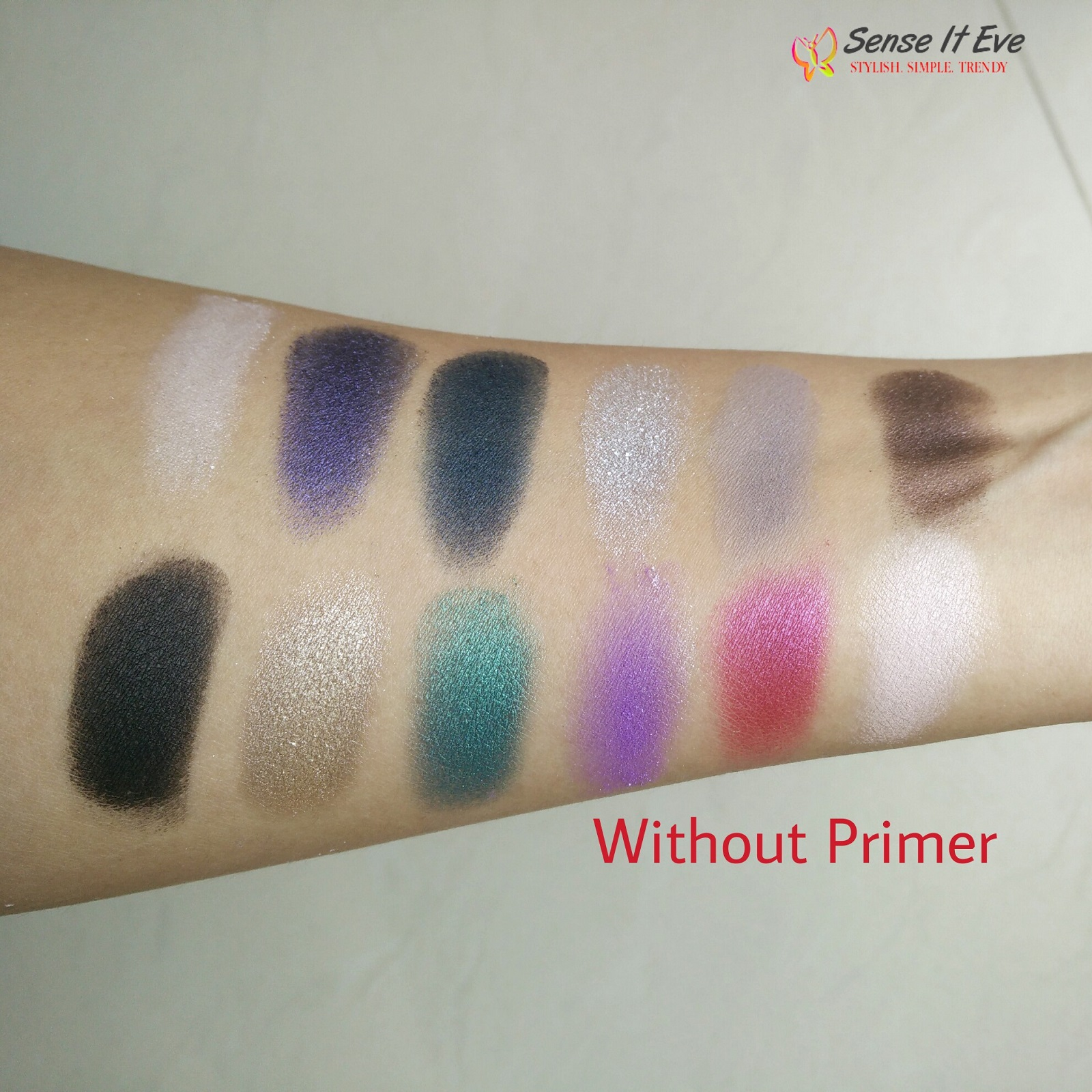 MUA Glamour Nights Eye Shadow Palette Swatches Without Primer 1