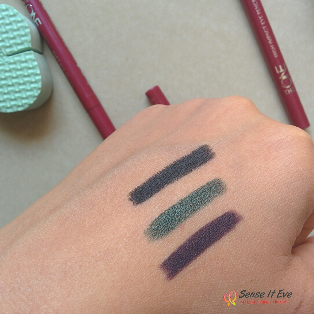 Oriflame The One High Impact Eye Pencil 31557 Onyx black, 31559 Amazon  Green, 31560 Deep Plum Swatches