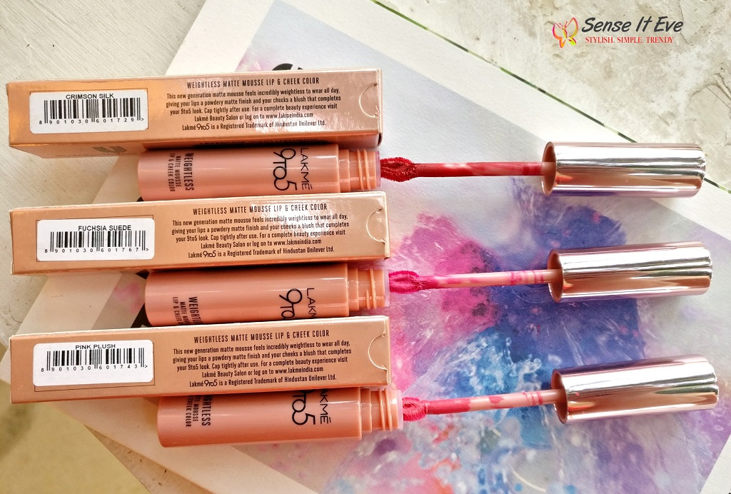 Lakme 9 to 5 Weightless Matte Mousse Lip & Cheek Color : Review & Swatches